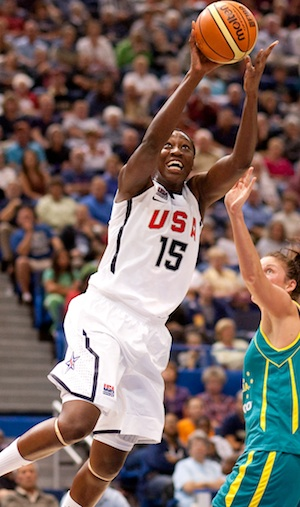 Tina Charles drives for a layup against Australia in a September, 2010, game in Salamanca, Spain. (Photo by Stephen Slade)