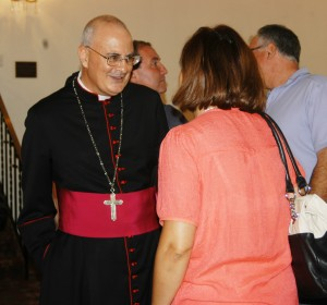 Maronite Bishop Gregory Mansour chats with parishioners at Our Lady of Lebanon Cathedral in Brooklyn Heights following liturgy on Sunday, Sept. 9. (Photo by Marie Elena Giossi)