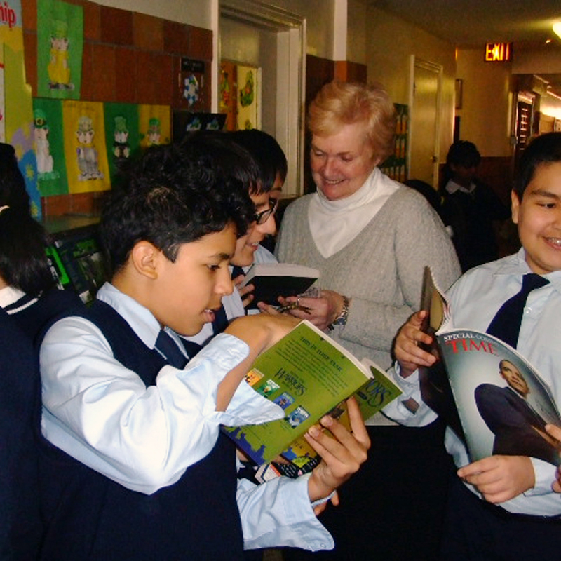 Among the activities students enjoy are school book fairs.