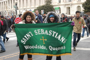 Young parishioners from St. Sebastian's parish in Woodside proudly display their banner during the 2013 March for Life. (Photo by Jim Mancari)