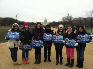 Fontbonne Hall Academy seniors Enza Agliata, Michele Cipriano, Rosalia LoVerde, Caroline Walkuski, and Cathleen Giordano, and juniors Dianna Marie Mikelis and Patricia Barakakos, all members of Fontbonne Hall's Friends for Life, headed for Washington, D.C. on January 25, one of the coldest days of the new year, to participate in the 40th March for Life.  The students were accompanied by their moderators Ms. Breeda Connolly, chairperson of the Social Studies Department, and Ms. Donna Russo, member of the Religious Studies Department.