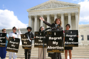 "Actress Jennifer O'Neill, spokeswoman for the ""Silent No More"" campaign, speaks out against abortion in front of the U.S. Supreme Court in Washington, D.C. in 2003."