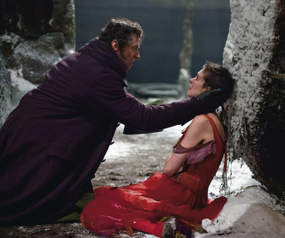 Hugh Jackman and Anne Hathaway in a scene from Les Miserables, the big-screen adaptation of the long-running stage show.