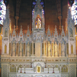 The main altar designed by architect James Renwick Jr., that once adorned St. Vincent de Paul Church, and will be the focal piece for the reconstruction at Holy Name Church.