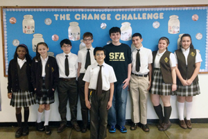 During Catholic Schools Week, the Student Council at St. Francis of Assisi School, Astoria, hosted a Change Challenge to increase awareness of the need to serve others. In this challenge, students brought in pennies to collect points for their class. But the fun began when they brought in silver money and dollars to lower the points of other classes. This friendly competition raised over $1,000, which was donated to the Robin Hood Foundation to help victims of Hurricane Sandy.