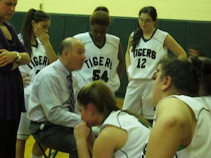 Bishop Kearney head coach Rocco Sellitto with his team (Photo by Jim Mancari)