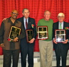 Old-Timers Class of 2013, from left: Willie Hall, Tom Konchalski, Mike Riordan and Bobby Cremins (Photo by Jim Mancari)