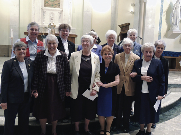 Sisters of St. Joseph, Brentwood, L.I., who have taught or are teaching at Fontbonne Hall Academy, Bay Ridge, were among those who gathered at St. Patrick's Church for the school's anniversary liturgy.