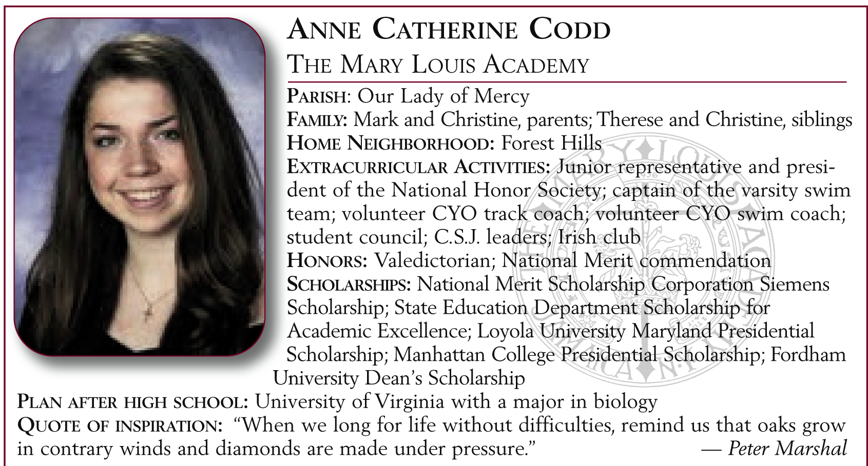 Anne Catherine Codd, The Mary Louis Academy