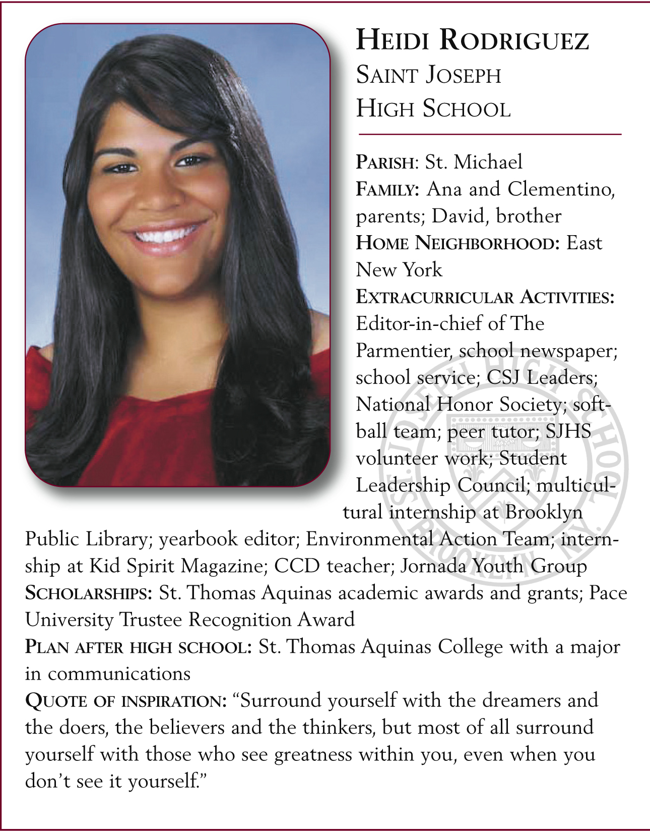 Heidi Rodriguez, St. Joseph High School