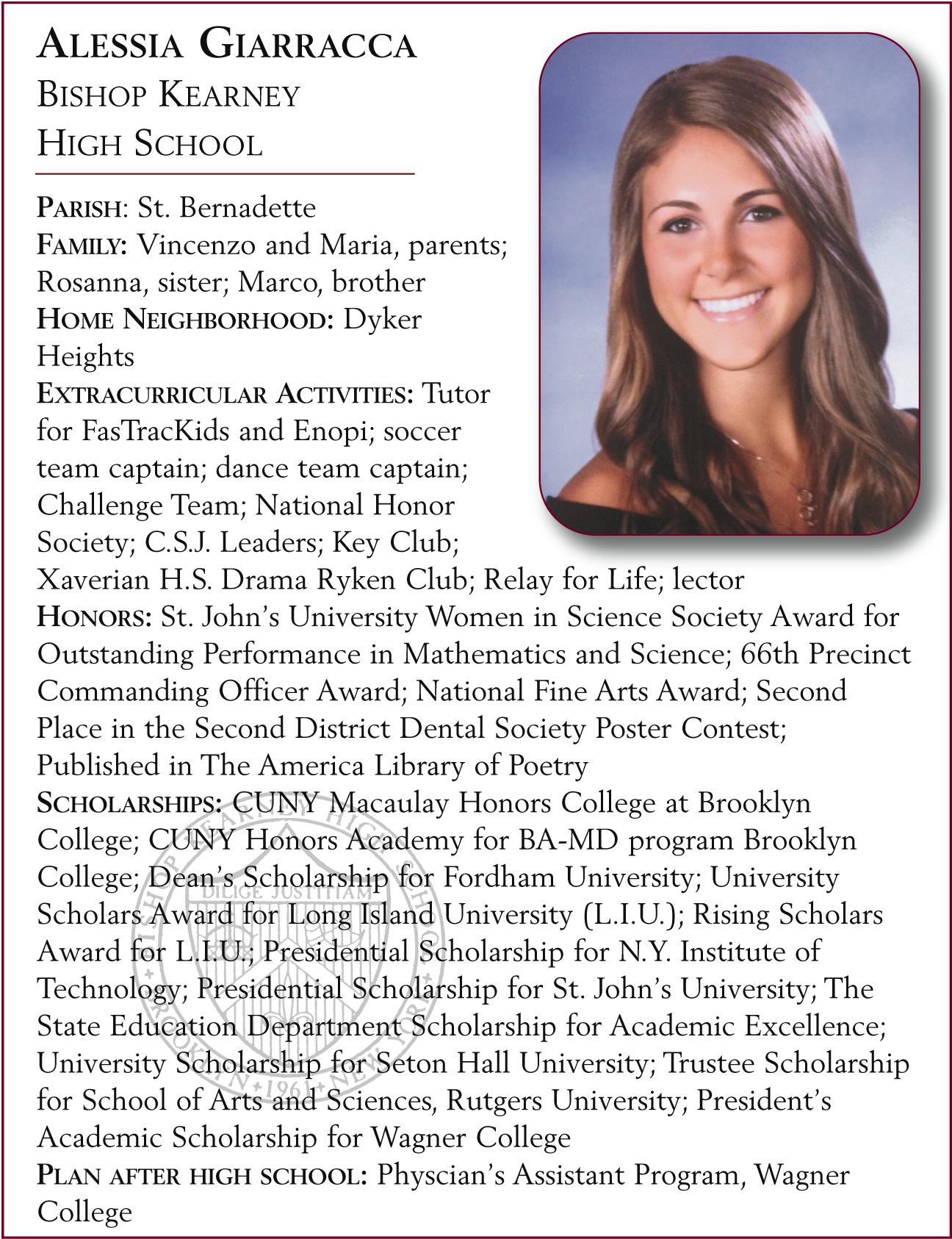 Alessia Giarracca, Bishop Kearney High School