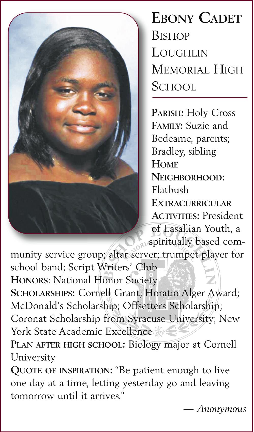 Ebony Cadet, Bishop Loughlin Memorial High School