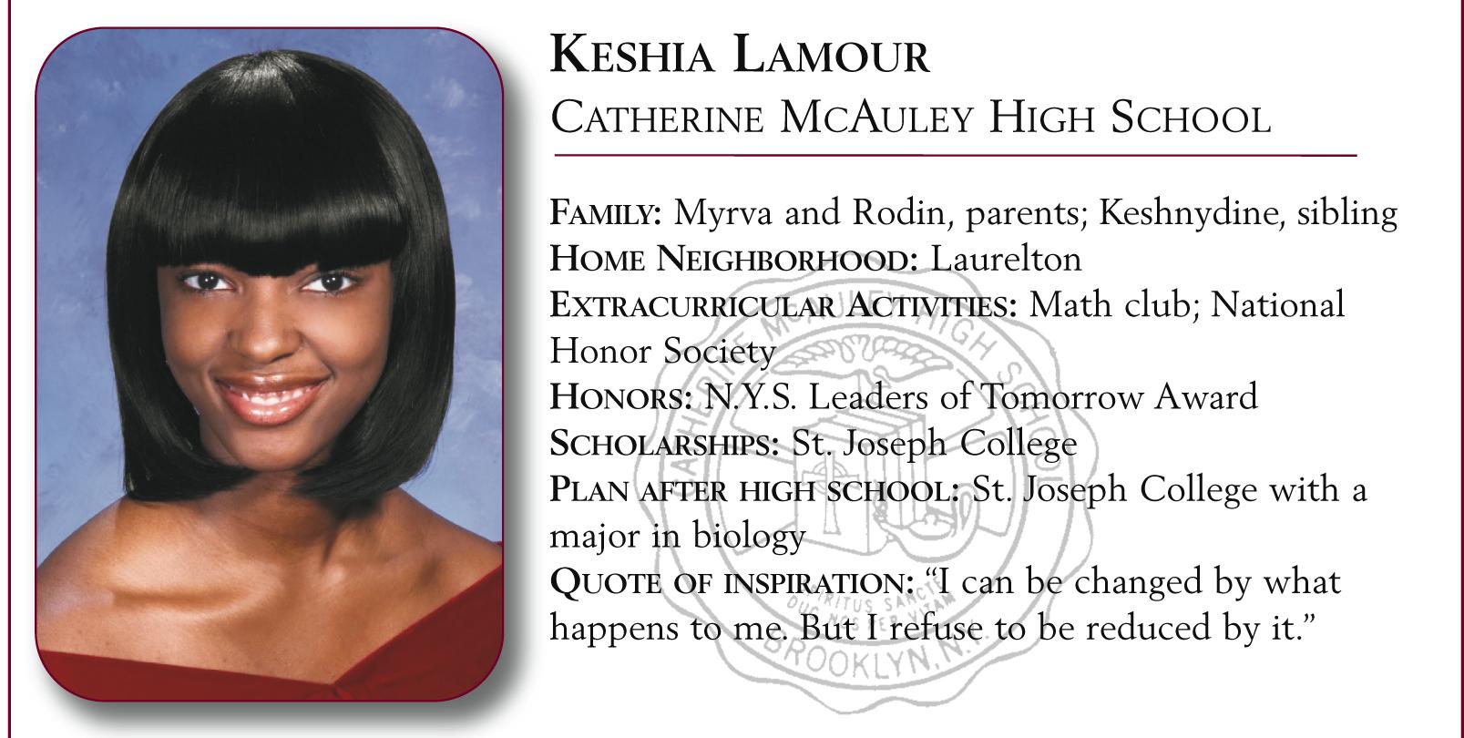 Keshia Lamour, Catherine McAuley High School