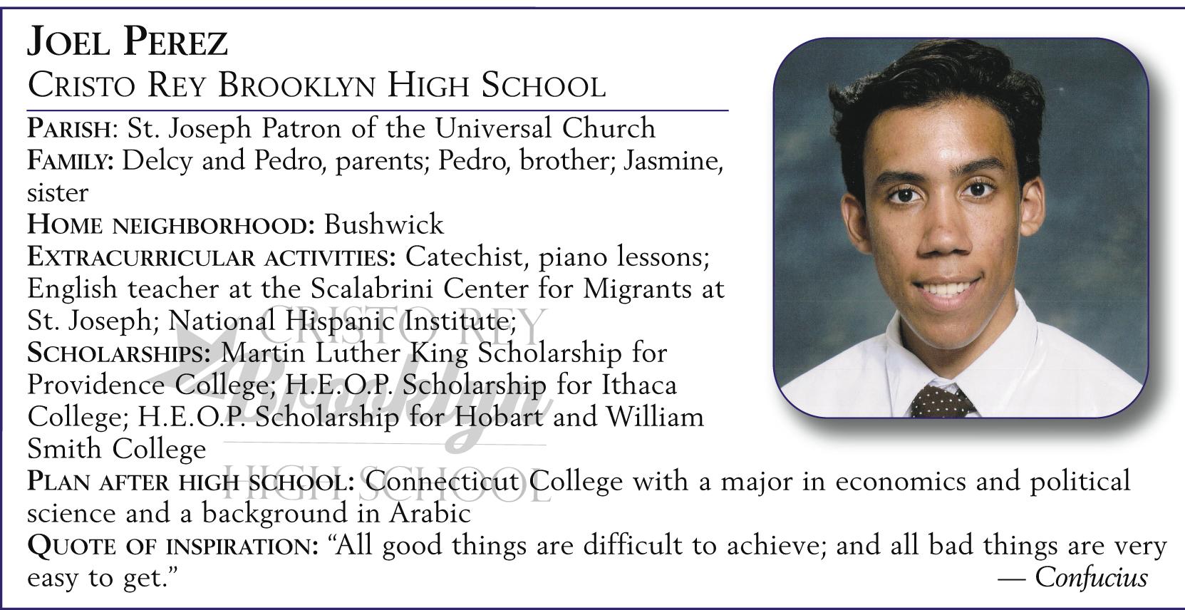 Joel Perez, Cristo Rey Brooklyn High School