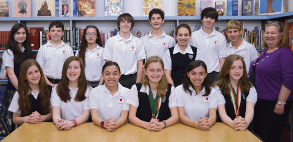 History Day competitors from Sacred Heart, Bayside, include: top, from left, Kathryn Pender, Richard Better, Maria Caminiti, Peter McGuirk, Gene Witkowski, Cristina Fernandez, Joe O'Connor, Chris Chiodi and teacher MaryAnn Cooke; bottom, Elaina Nicolich, Gabrielle Vance, Robyn Alma, Siena DeBenedittis, Jenna Alma and Christine McLaughlin.