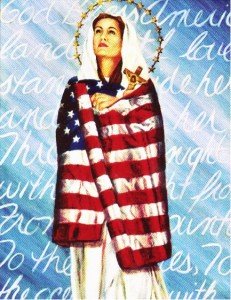 This poster depicting the Blessed Mother draped in the American flag has been distributed to all parishes in Brooklyn and Queens as part of the observance of the Fortnight for Freedom campaign launched by the U.S. Catholic Bishops. The bishops are combatting threats to religious freedom in America.