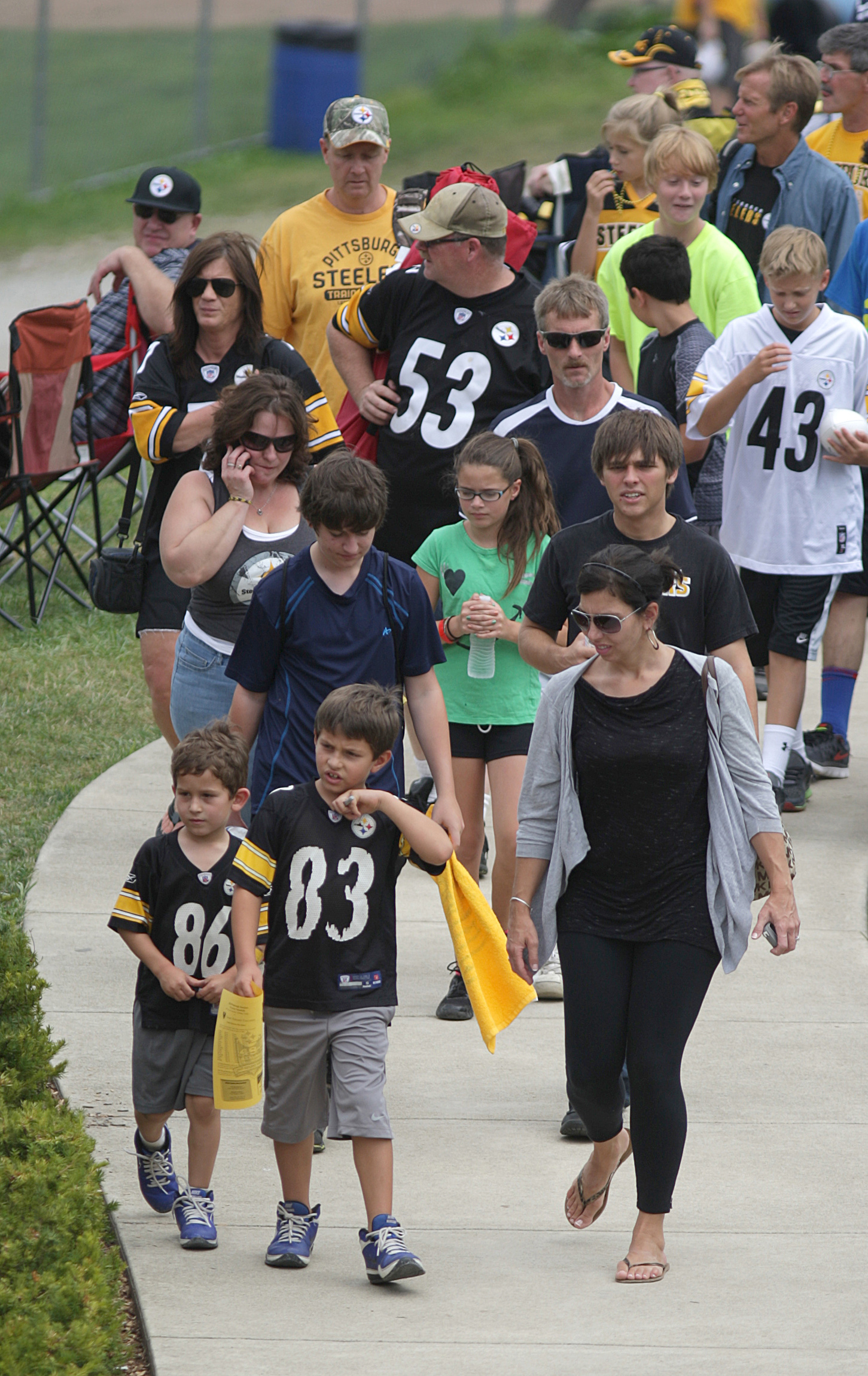 Fans arrive at Pittsburgh Steelers football training camp at St. Vincent College in Pennsylvania