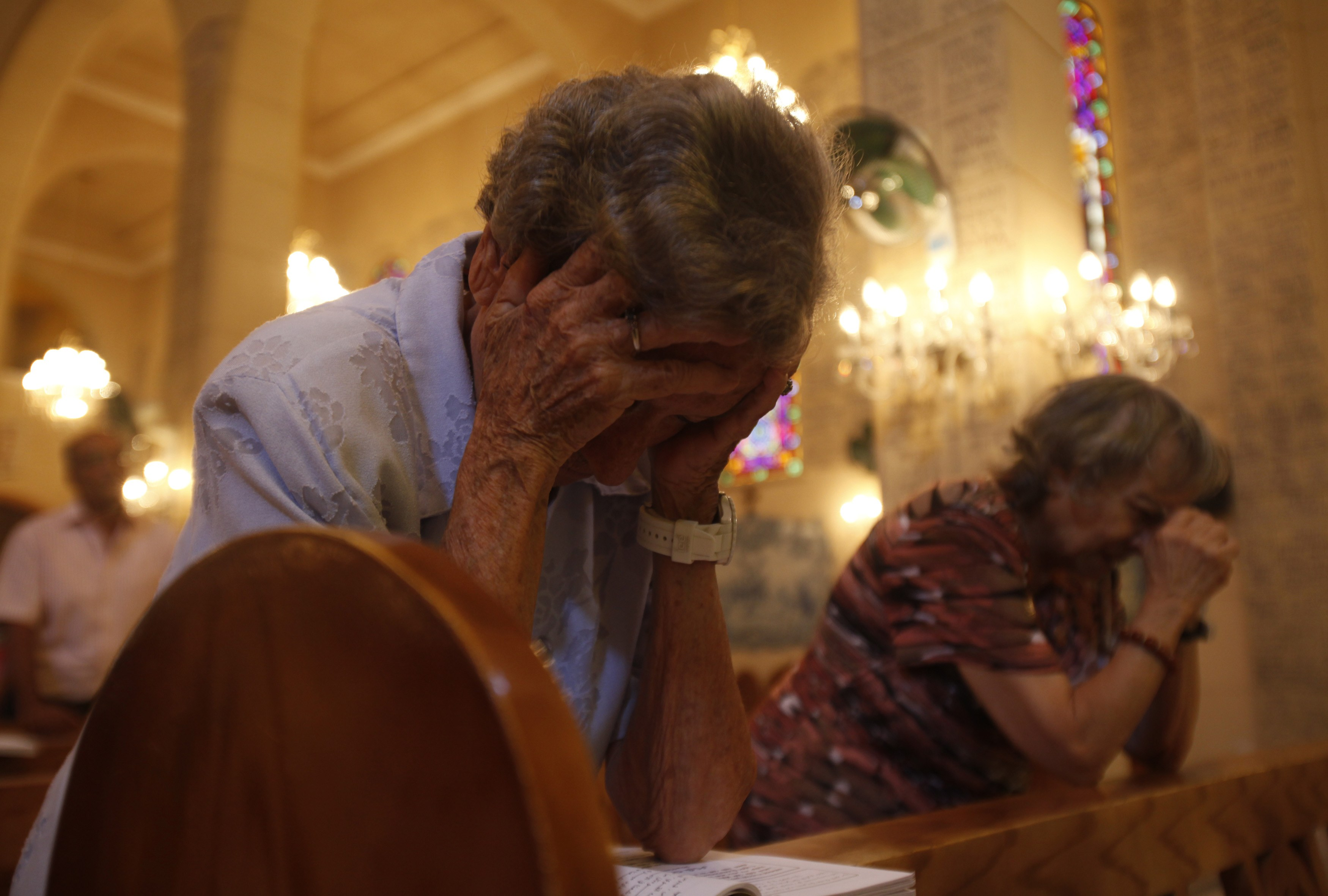 Worshippers pray in Basilica of Our Lady of Fatima in Cairo