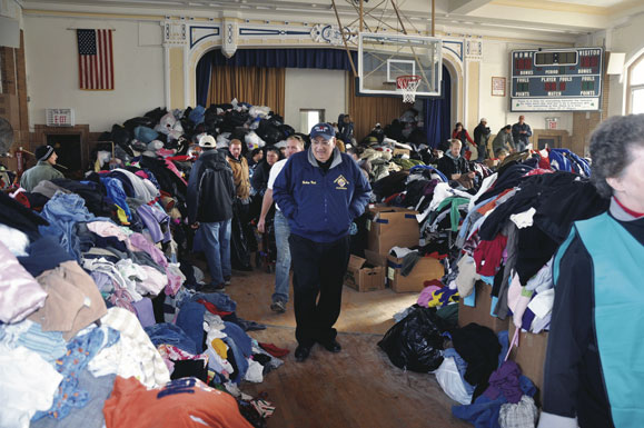 Last year, Bishop Nicholas DiMarzio toured the emergency relief center set up at St. Francis de Sales School, Belle Harbor.