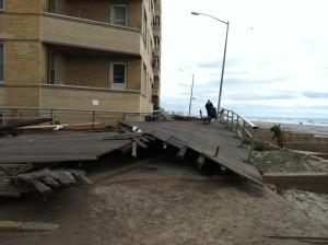 The Rockaway boardwalk after Hurricane Sandy.