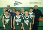 Father Sean Suckiel, far right, is the head coach of the Blessed Trinity parish, Breezy Point, CYO boys' sixth-grade basketball 'B' team. (Photo by Jim Mancari)