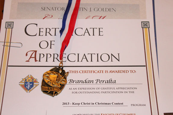 2013 keep christ in christmas contest winners honored the tablet certificate yadclub Gallery