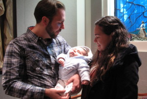 """Above are Vincent and Cristina Biscione, with their baby son, Vincent Raphael Biscione. The family visited New York in a continuation of their efforts to make their movie, """"The Hope of the Amazon,"""" a reality and to visit Vincent's family. The Bisciones live in West Hollywood."""