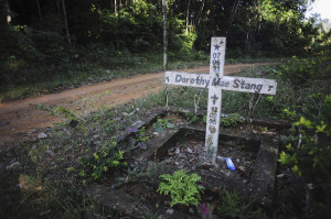 A cross marks the spot where the nun was murdered in 2005 near the Brazilian town of Anapu.