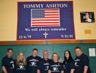 The Ashton family (from left, Anthony Amato, Colleen Ashton, George Schwemmer, John Ashton, Kathy Ashton, Mary Buckley and Eugene Buckley) is pictured at the Tommy Ashton Basketball Tournament at St. Sebastian's parish.