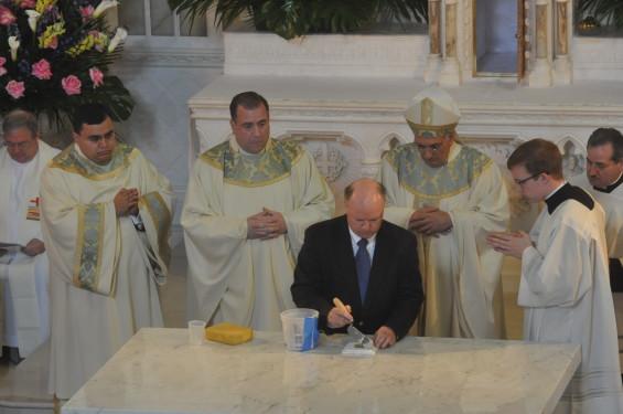 preparing altar stone