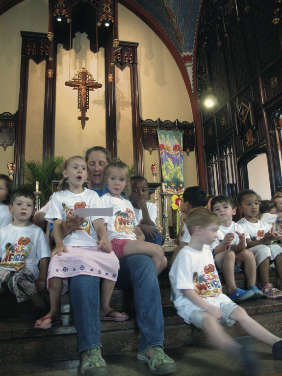 Singing prayer songs was only one of the many activities offered to children at the Immaculate Heart of Mary, Windsor Terrace, annual Bible camp.