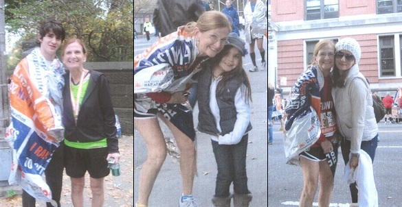 Maureen O'Neill poses with family members during her marathon runs.