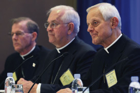 Bishop John C. Wester of Salt Lake City; Archbishop Joseph E. Kurtz of Louisville, Ky., president of the U.S. Conference of Catholic Bishops; and Cardinal Donald W. Wuerl of Washington, D.C., during a press conference at the bishops' annual fall meeting in Baltimore.