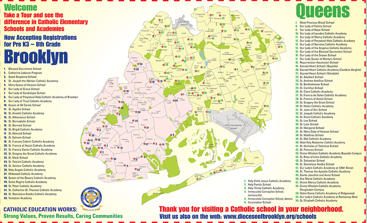 map catholic elementary schools and academies in brooklyn and