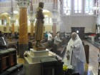 Father Philip Pizzo blesses statue of St. Benedict Joseph Labre