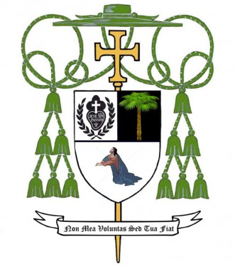 """Bishop-elect Kibal's episcopal crest and motto: """"Non Mea Voluntas Sed Tua Fiat"""" (""""Not My Will But Yours Be Done"""")."""