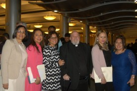 Lay leaders from St. Benedict Joseph Labre church, Richmond Hill, from left, Candida Diaz, Celina Tineo, Magaly Sanchez-Coello, Father Philip J. Pizzo, pastor; Rosalynn Fernandez Ferreira and Lynda DiFilipi. (Photos by Maria-Pia Negro Chin)
