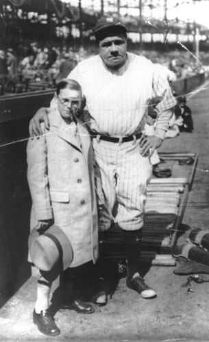 Babe Ruth and young Johnny Sylvester, for whom the Babe said he would hit a home run. (Photo courtesy Andrew Lilley)