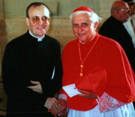 On his 40th birthday, then-Father Massa meets Cardinal Joseph Ratzinger, whose writings were the subject of his doctoral thesis.