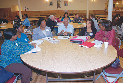 Participants take part in small-group discussions at one of two orientation days the Pastoral Institute held for the Lay Ministry Program at Holy Name of Jesus parish, Park Slope. (Photo courtesy Pastoral Institute)
