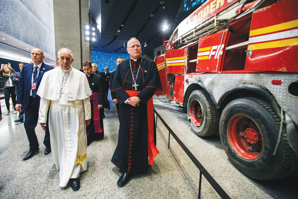 He also toured the 9/11 Museum with Cardinal Timothy Dolan.