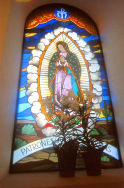 Stained-glass window of Our Lady of Guadalupe at St. Ann Parish in Coppell, Texas. (Photo by Catholic News Service/ Mark Pattison)
