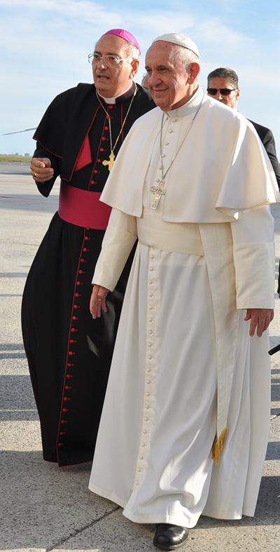 Bishop DiMarzio walks with Pope Francis