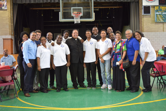 Father Nutt stands in solidarity with priests and leadership of the Brooklyn Diocese Vicariate of Black Catholic Concerns and the youth from the vicariate's Ambassador Program, who will go on a service trip to Jamaica next year.