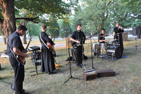 The seminarians' band plays during an outdoor barbecue that followed the Mass of the Holy Spirit that opened the academic year at the seminary.