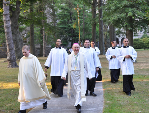 Auxiliary Bishop James Massa leads a procession on the grounds of St. Joseph's Seminary, Yonkers. (Photos by Ed Wilkinson)