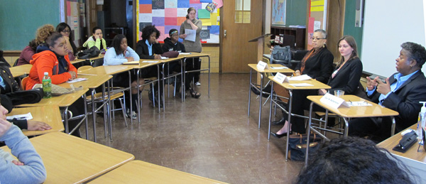St. Joseph H.S. offers a full-day career day, where among other activities, students were given the opportunity to speak to professional women in a small-group setting.