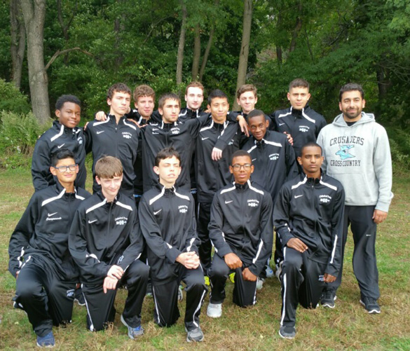 Among the members of the Cathedral Prep cross-country track team are: back row, from left, Rasheed Kelly, David Gaskey, Fernando Ronocni, Stephen Barbaro, Brendan O'Leary, Paulo Salazar, Michael Bode, Kyle Frederick, Alexander Fitissov, Coach Larry Medina; front row, from left, Dyango Campoverde, Antoine Haran, Daniel Maher, Emmanuel Ambroise, and Daniel Berhan.