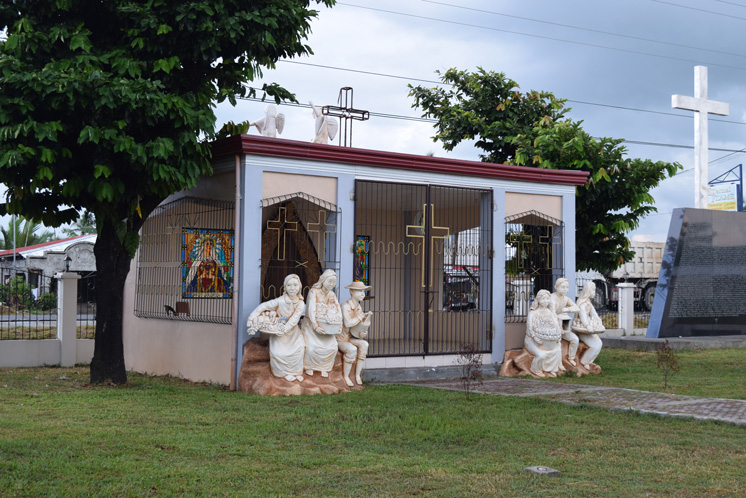 Memorial site built on a mass graves site in front of the San Joaquin Church in Palo, Leyte.
