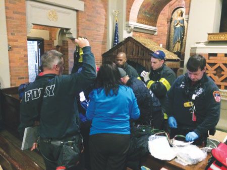 First responders attended to the newborn baby that was found in the manger of Holy Child Jesus Church, Richmond Hill.